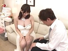 Big Tits, Blowjob, Couch, Ethnic, Hairy, Japanese, Missionary, Natural Tits, Riding, Wife,