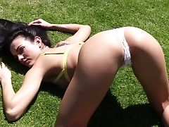 Babe, Bold, Boobless, Brunette, Close Up, Cute, Flexible, Outdoor, Pussy, Softcore,