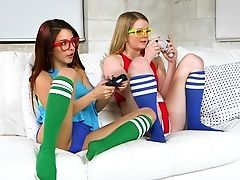 American, Babe, Bold, Couch, Fingering, Game, Glasses, Lesbian, Licking, Teen,