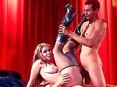 Anal Sex, Big Tits, Blowjob, Boots, Corset, Doggystyle, Double Penetration, Fake Tits, Foursome, Fucking,
