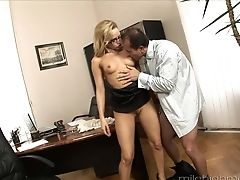 Ass Licking, Blonde, Blowjob, Bra, Couple, Cowgirl, Cumshot, Glasses, Hardcore, High Heels,