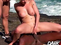 Anal Sex, Beach, Blonde, Blowjob, Cowgirl, Cum On Tits, Cumshot, Fake Tits, Hardcore, Interracial,