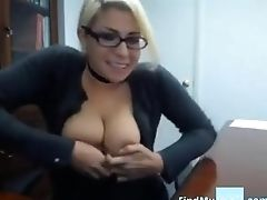 Blonde, Captive, Cute, Glasses, High Heels, Jerking, Masturbation, Model, Natural Tits, Office,