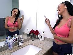 Bedroom, Big Natural Tits, Big Tits, Blowjob, Brunette, Cowgirl, Doggystyle, HD, Latina, Makeup,
