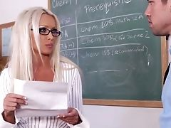 Blonde, Casting, Classroom, Condom, Desk, Diana Doll, European, From Behind, Glasses, Hardcore,