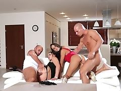 Babe, Blowjob, Brunette, Couch, Cowgirl, Cum Swapping, Dick, Doggystyle, Foursome, Group Sex,