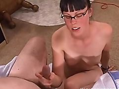 Brunette, Couple, Cute, Glasses, Handjob, Hardcore, HD, Natural Tits, POV, Small Cock,