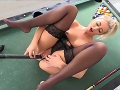 Blonde, Boobless, High Heels, Insertion, Lingerie, Masturbation, MILF, Model, Nylon, Pool,