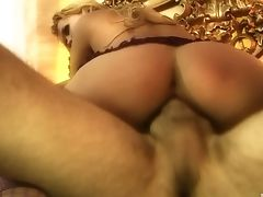 Big Tits, Blonde, Couple, Cowgirl, Doggystyle, Fake Tits, Fishnet, Hardcore, High Heels, Lingerie,