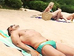 Amazing, Beach, Bikini, Blonde, Couple, Fake Tits, Glasses, Hardcore, MILF, Moaning,
