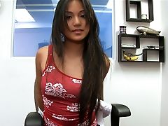 Asian, Blowjob, Brunette, Cute, Ethnic, Filipina, Lana Violet, Legs, Licking, Long Hair,