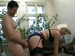 Blonde, Cumshot, Homemade, Old, Stockings, Young,