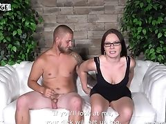 Anal Sex, Blowjob, Bold, Brunette, Couch, Couple, Cowgirl, Fucking, Glasses, Hardcore,