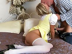 Blonde, Clothed Sex, Condom, Dress, From Behind, Hardcore, Heather Starlet, Licking, Oral Sex, Stockings,