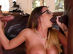 Big Black Cock, Big Cock, Big Tits, Blowjob, Cuckold, Fake Tits, Glasses, Hardcore, Interracial, Long Hair,