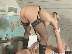 Blonde, Blowjob, Boss, Cowgirl, Doggystyle, Glasses, Handjob, Hardcore, MILF, Mmf,