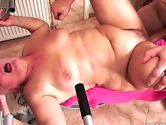 Big Tits, Blonde, Blowjob, Cum In Mouth, Food, Granny, Mature, Old And Young,