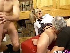 Blonde, Blowjob, Clothed Sex, Cum In Mouth, Cum Swallowing, Cum Swapping, Cumshot, Fake Tits, Foursome, Group Sex,