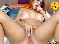 Babe, Big Tits, Bra, Glasses, Jerking, Masturbation, Model, Nerd, Panties, Pussy,