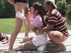 Blowjob, Boobless, Cum Swallowing, Cumshot, Ethnic, Facial, Golf, Japanese, Miniskirt, Mmf,