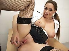 Big Tits, Bold, British, Desk, HD, High Heels, Jerking, Lingerie, Miniskirt, Panties,