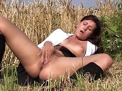 Babe, Fingering, HD, Masturbation, Moaning, Nature, Outdoor, Pussy, Skirt, Solo,