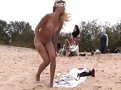 Beach, Blonde, Boobless, Cigarette, Hidden Cam, Slim,