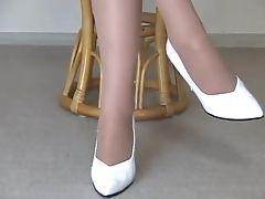 High Heels, Nylon, Pantyhose, Softcore, Teen, Voyeur, White,