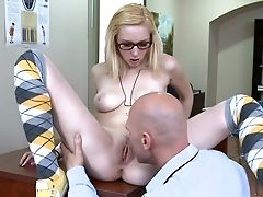Blonde, Classroom, College, Condom, Desk, From Behind, Glasses, Hardcore, Innocent, Licking,