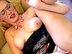 Blonde, Choking Sex, Clothed Sex, Coach, Glasses, HD, Mature, Natural Tits, Shaved Pussy, Shoe,