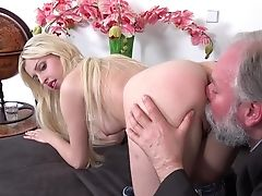 Blonde, Blowjob, Couch, Cowgirl, Doggystyle, Hardcore, Moaning, Old, Old And Young, Oral Sex,